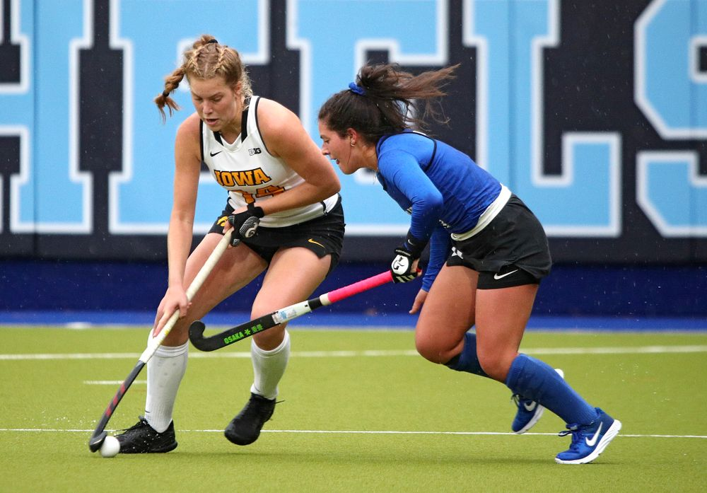 Iowa's Lokke Stribos (14) moves with the ball during the second quarter of their NCAA Tournament First Round match against Duke at Karen Shelton Stadium in Chapel Hill, N.C. on Friday, Nov 15, 2019. (Stephen Mally/hawkeyesports.com)