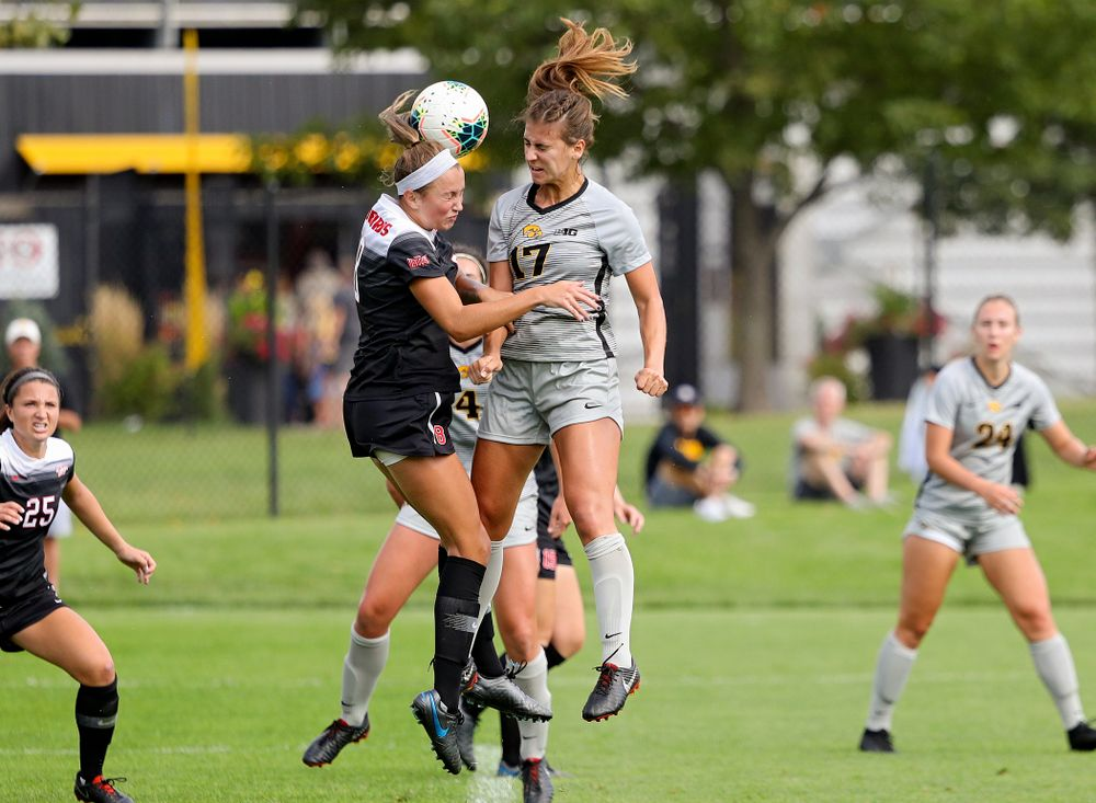 Iowa defender Hannah Drkulec (17) battles for a header on a corner kick during the first half of their match at the Iowa Soccer Complex in Iowa City on Sunday, Sep 1, 2019. (Stephen Mally/hawkeyesports.com)