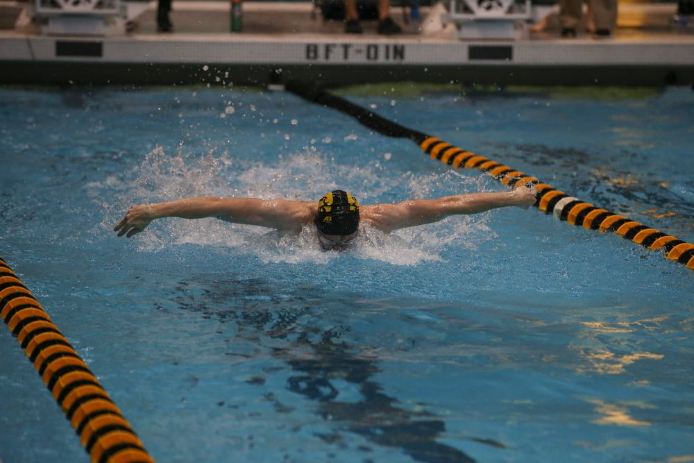 Iowa's Sam Dumford swims the 100-yard butterfly during the Iowa swimming and diving meet vs Notre Dame and Illinois on Saturday, January 11, 2020 at the Campus Recreation and Wellness Center. (Lily Smith/hawkeyesports.com)