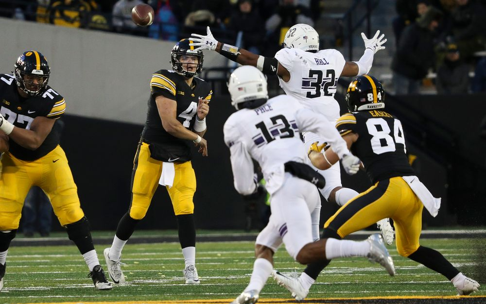 Iowa Hawkeyes quarterback Nate Stanley (4) passes the ball during a game against Northwestern at Kinnick Stadium on November 10, 2018. (Tork Mason/hawkeyesports.com)