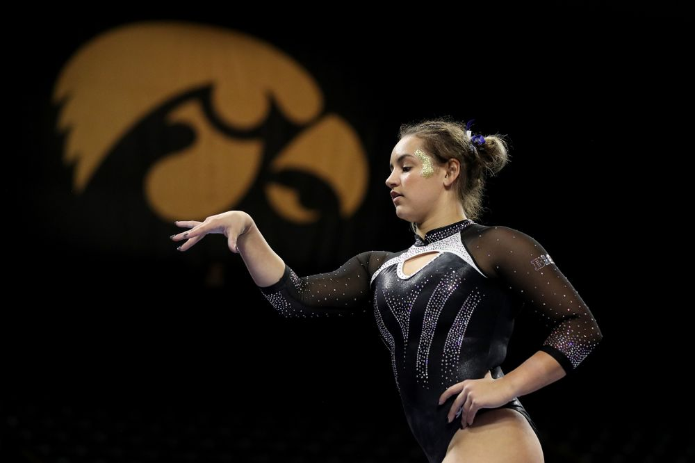 Iowa's Daniela Castillo competes on the beam against Michigan State Saturday, February 1, 2020 at Carver-Hawkeye Arena. (Brian Ray/hawkeyesports.com)