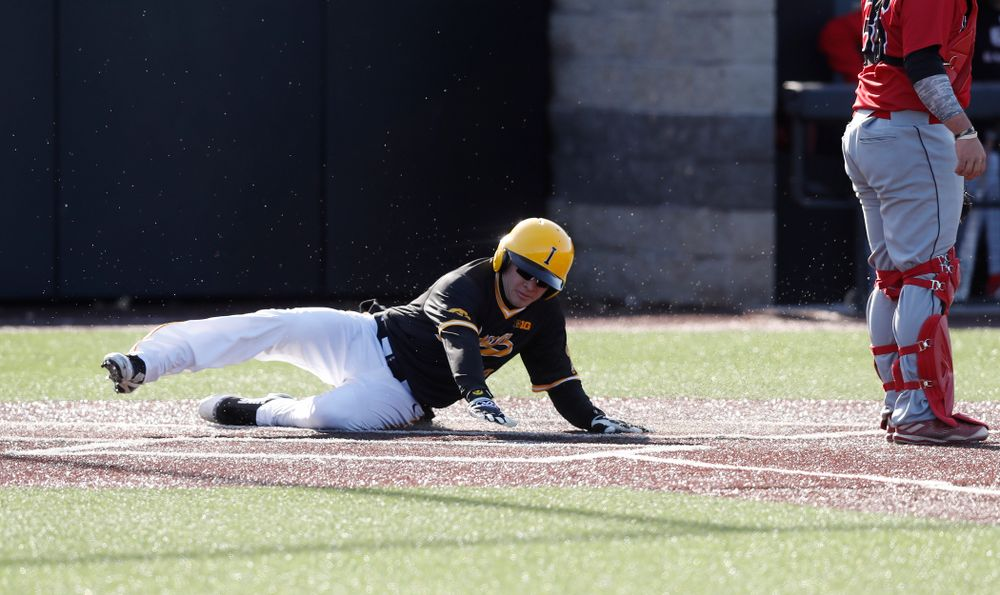 Iowa Hawkeyes catcher Austin Guzzo (20) against Grand View Wednesday, April 4, 2018 at Duane Banks Field. (Brian Ray/hawkeyesports.com)