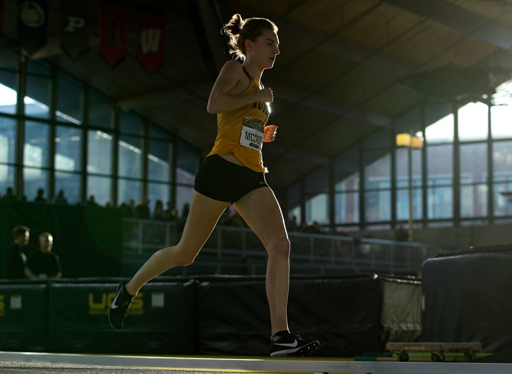 Iowa's Grace McCabe runs the women's 800 meter run premier event during the Larry Wieczorek Invitational at the Recreation Building in Iowa City on Saturday, January 18, 2020. (Stephen Mally/hawkeyesports.com)