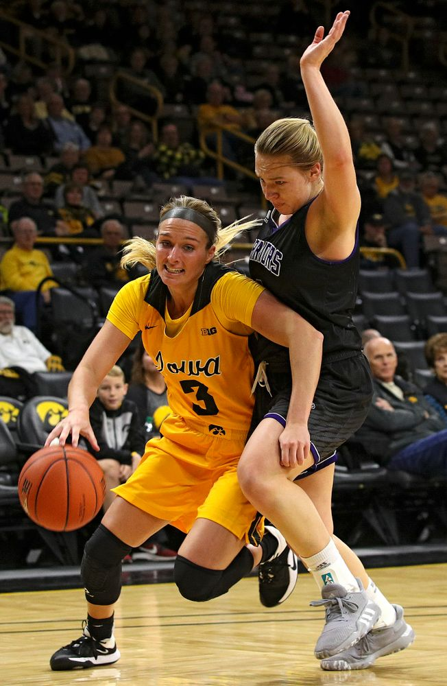 Iowa guard Makenzie Meyer (3) drives with the ball during the fourth quarter of their game against Winona State at Carver-Hawkeye Arena in Iowa City on Sunday, Nov 3, 2019. (Stephen Mally/hawkeyesports.com)