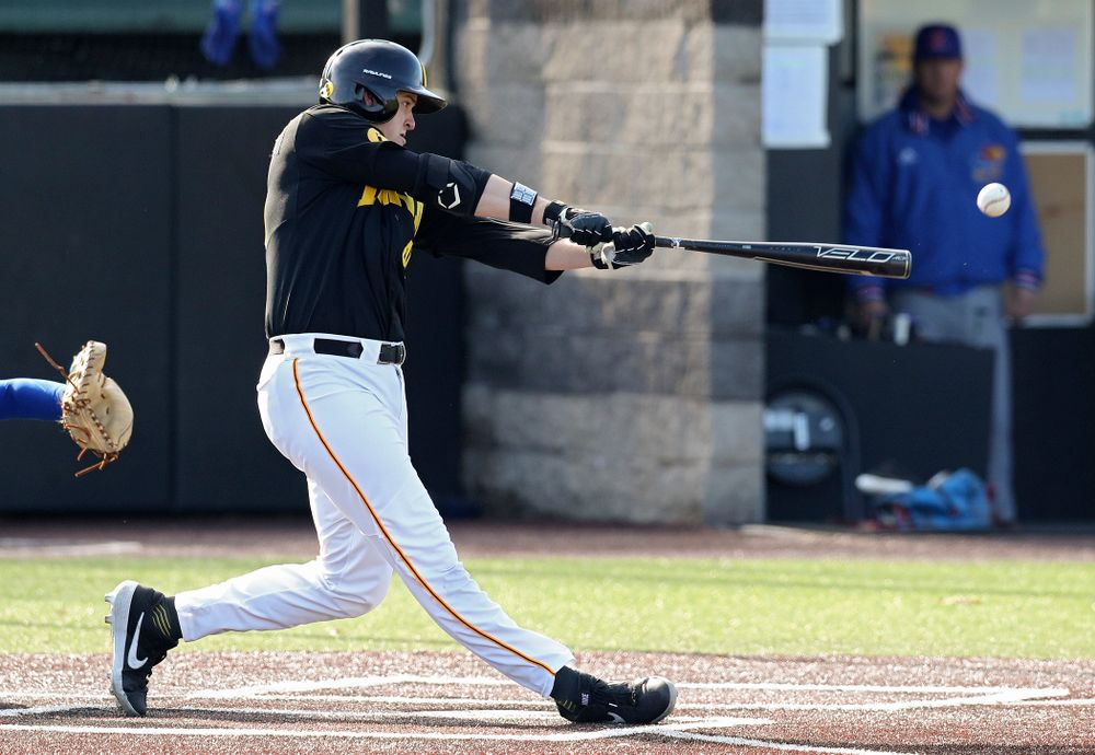 Iowa first baseman Peyton Williams (45) bats during the first inning of their college baseball game at Duane Banks Field in Iowa City on Tuesday, March 10, 2020. (Stephen Mally/hawkeyesports.com)