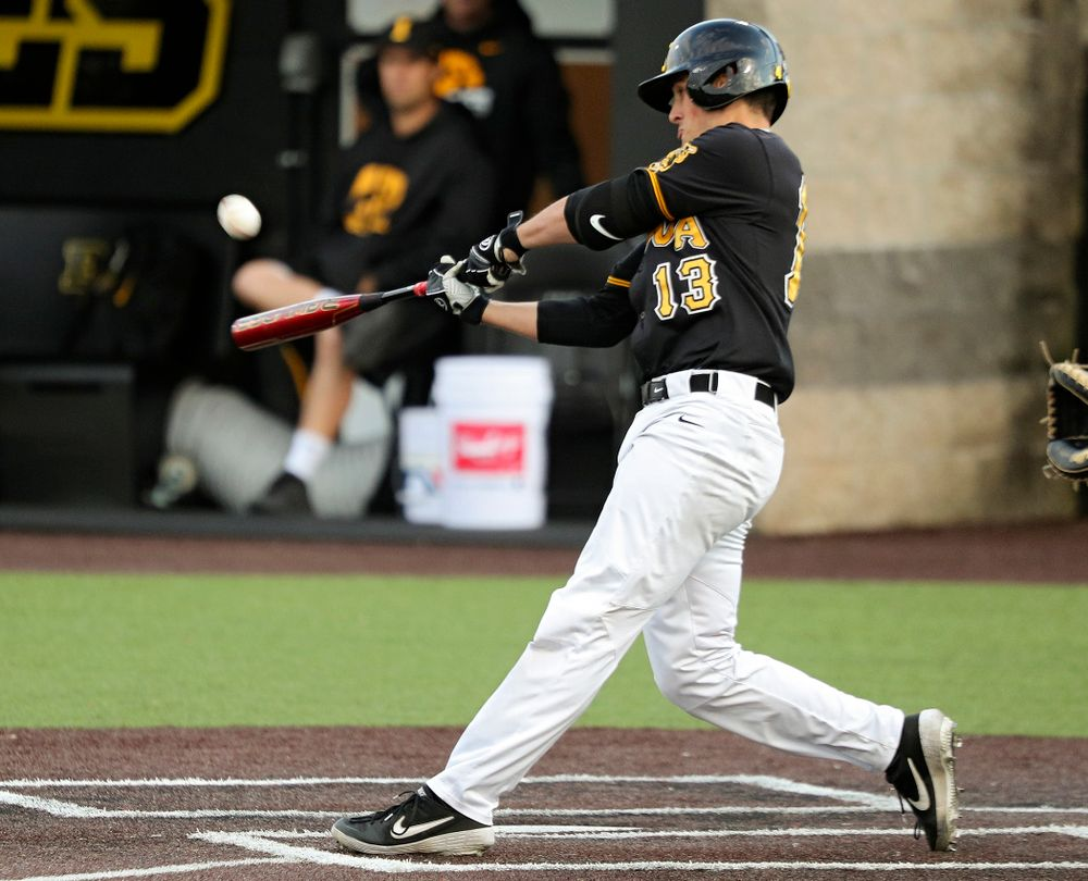 Iowa's Brayden Frazier (13) bats during the sixth inning of the first game of the Black and Gold Fall World Series at Duane Banks Field in Iowa City on Tuesday, Oct 15, 2019. (Stephen Mally/hawkeyesports.com)