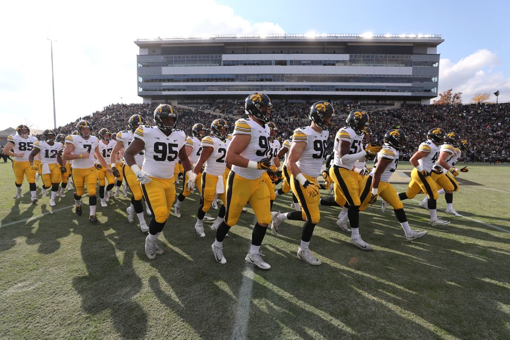 The Iowa Hawkeyes swam onto the field for their game against the Purdue Boilermakers Saturday, November 3, 2018 Ross Ade Stadium in West Lafayette, Ind. (Brian Ray/hawkeyesports.com)