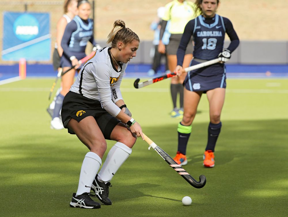 Iowa's Leah Zellner (13) spins with the ball during the second quarter of their NCAA Tournament Second Round match against North Carolina at Karen Shelton Stadium in Chapel Hill, N.C. on Sunday, Nov 17, 2019. (Stephen Mally/hawkeyesports.com)