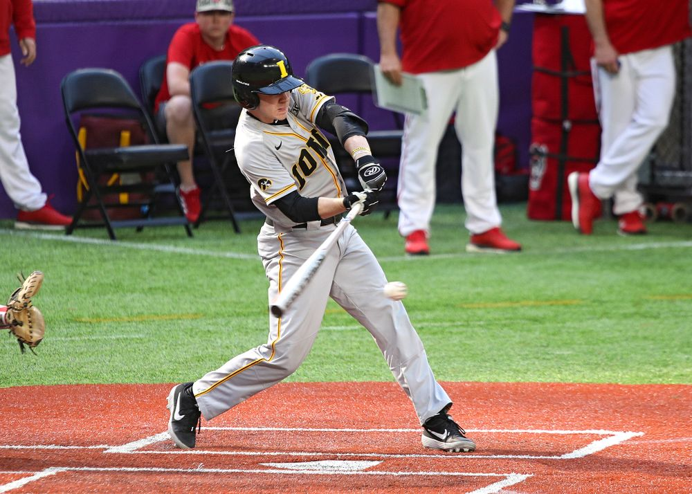 Iowa Hawkeyes utility player Sam Link (3) bats during the seventh inning of their CambriaCollegeClassic game at U.S. Bank Stadium in Minneapolis, Minn. on Friday, February 28, 2020. (Stephen Mally/hawkeyesports.com)