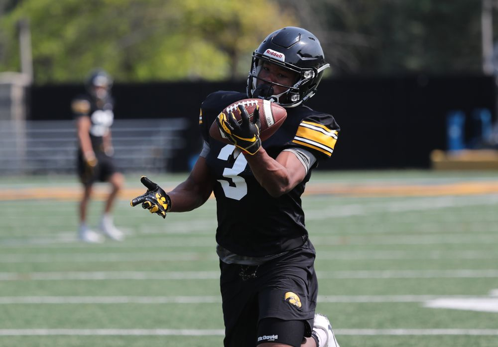 Iowa Hawkeyes wide receiver Tyrone Tracy Jr. (3) during the third practice of fall camp Sunday, August 5, 2018 at the Kenyon Football Practice Facility. (Brian Ray/hawkeyesports.com)
