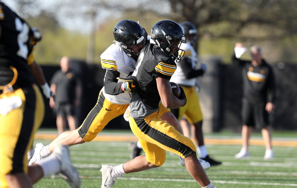 Iowa Hawkeyes wide receiver Tyrone Tracy Jr. (3) during the teamÕs final spring practice Friday, April 26, 2019 at the Kenyon Football Practice Facility. (Brian Ray/hawkeyesports.com)