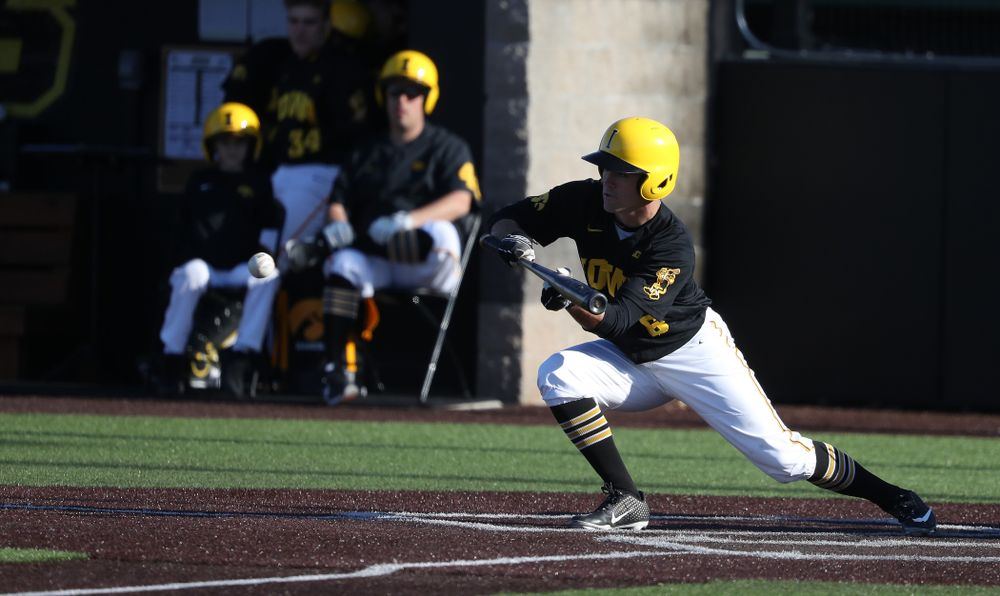 Iowa Hawkeyes outfielder Justin Jenkins (6) against the Bradley Braves Tuesday, March 26, 2019 at Duane Banks Field. (Brian Ray/hawkeyesports.com)