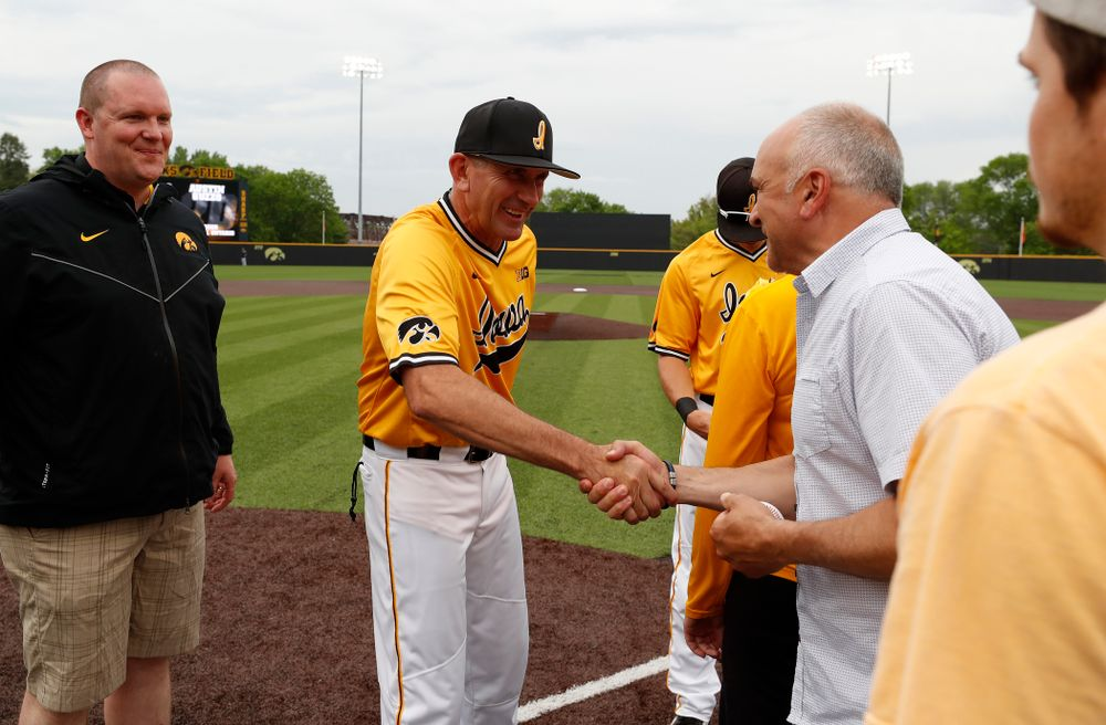 Iowa Hawkeyes head coach Rick Heller during senior day activities before their game against the Penn State Nittany Lions Saturday, May 19, 2018 at Duane Banks Field. (Brian Ray/hawkeyesports.com)