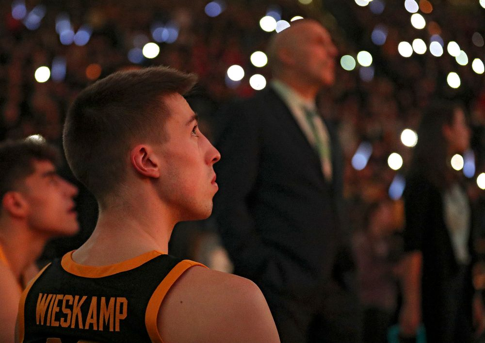 Iowa Hawkeyes guard Joe Wieskamp (10) waits to be introduced before their game at Carver-Hawkeye Arena in Iowa City on Monday, January 27, 2020. (Stephen Mally/hawkeyesports.com)