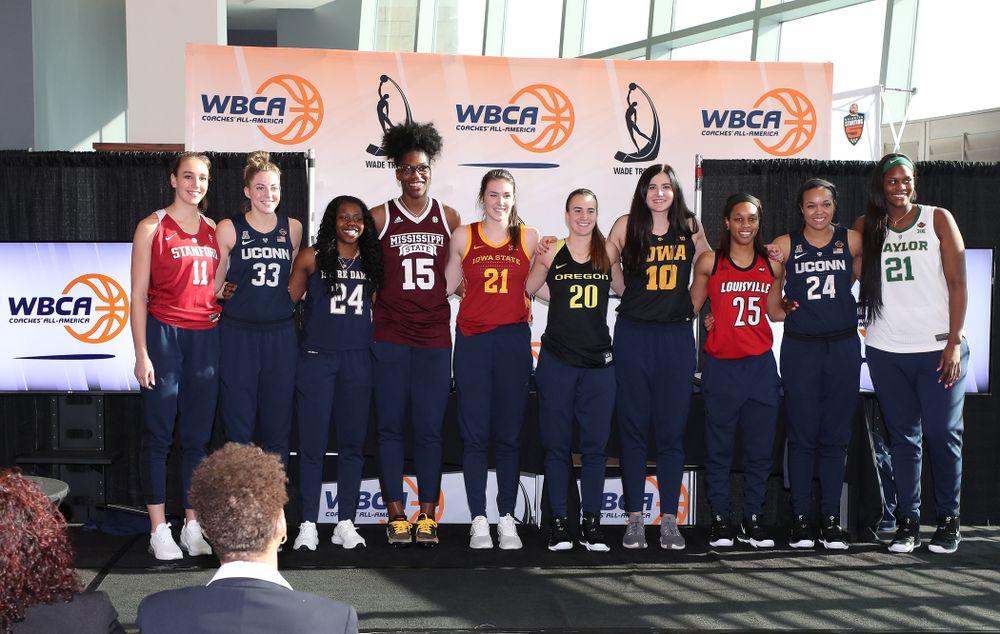 Iowa Hawkeyes forward Megan Gustafson (10) is announced as a WBCA All American Wednesday, April 4, 2018 at Amalie Arena in Tampa, FL. (Brian Ray/hawkeyesports.com)