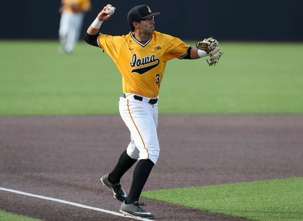 Iowa Hawkeyes third baseman Matthew Sosa (31) throws to first for an out during the fifth inning of their game against Northern Illinois at Duane Banks Field in Iowa City on Tuesday, Apr. 16, 2019. (Stephen Mally/hawkeyesports.com)
