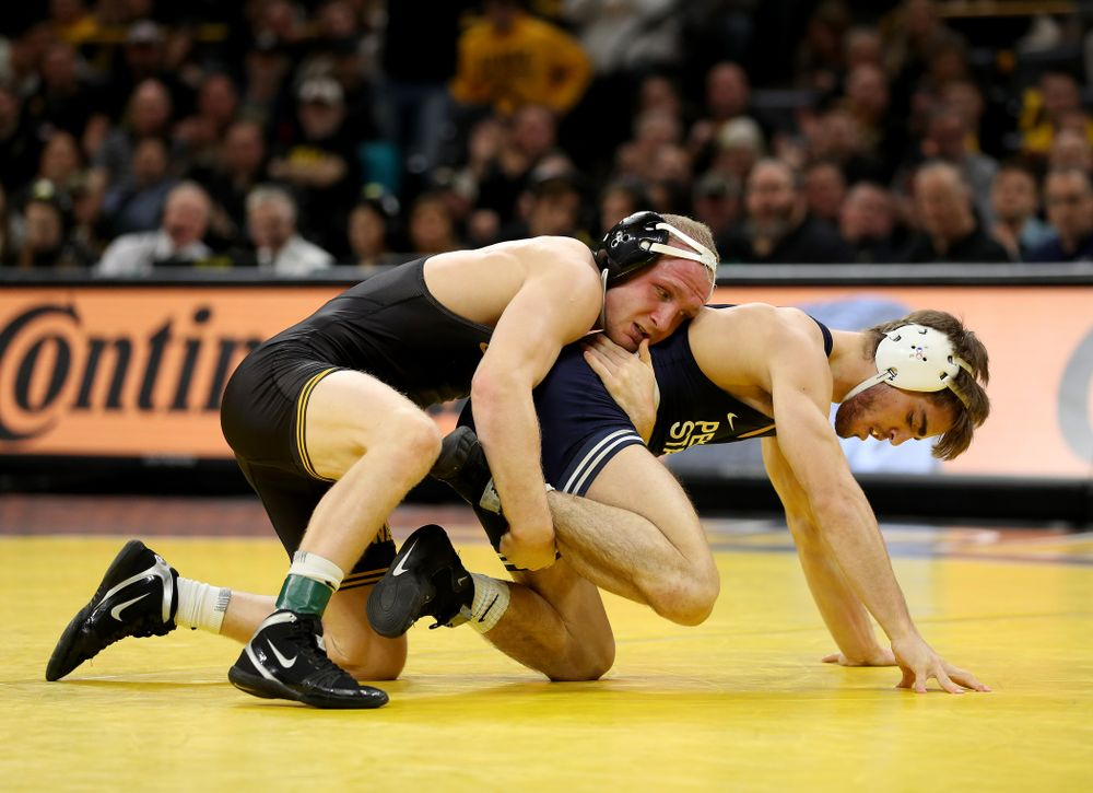 Iowa's Kaleb Young wrestles Penn State's Bo Pipher at 157 pounds Friday, January 31, 2020 at Carver-Hawkeye Arena. Young defeated Pipher 6-1. (Brian Ray/hawkeyesports.com)