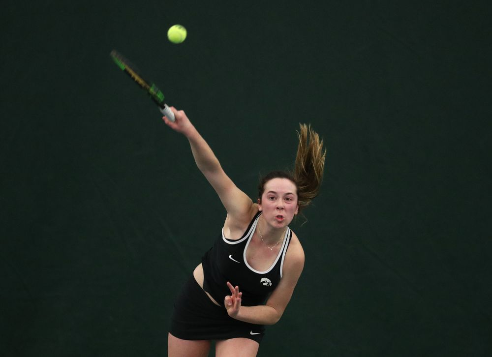 Iowa's Samantha Mannix against the Penn State Nittany Lions Sunday, February 24, 2019 at the Hawkeye Tennis and Recreation Complex. (Brian Ray/hawkeyesports.com)