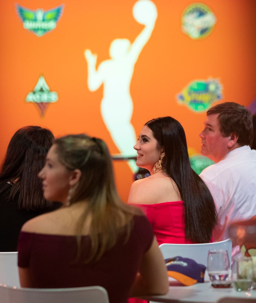 Iowa Hawkeyes forward Megan Gustafson (10) waits to be selected by the Dallas Wings in the second round of the 2019 WNBA Draft Wednesday, April 10, 2019 at Nike New York Headquarters in New York City. (Brian Ray/hawkeyesports.com)