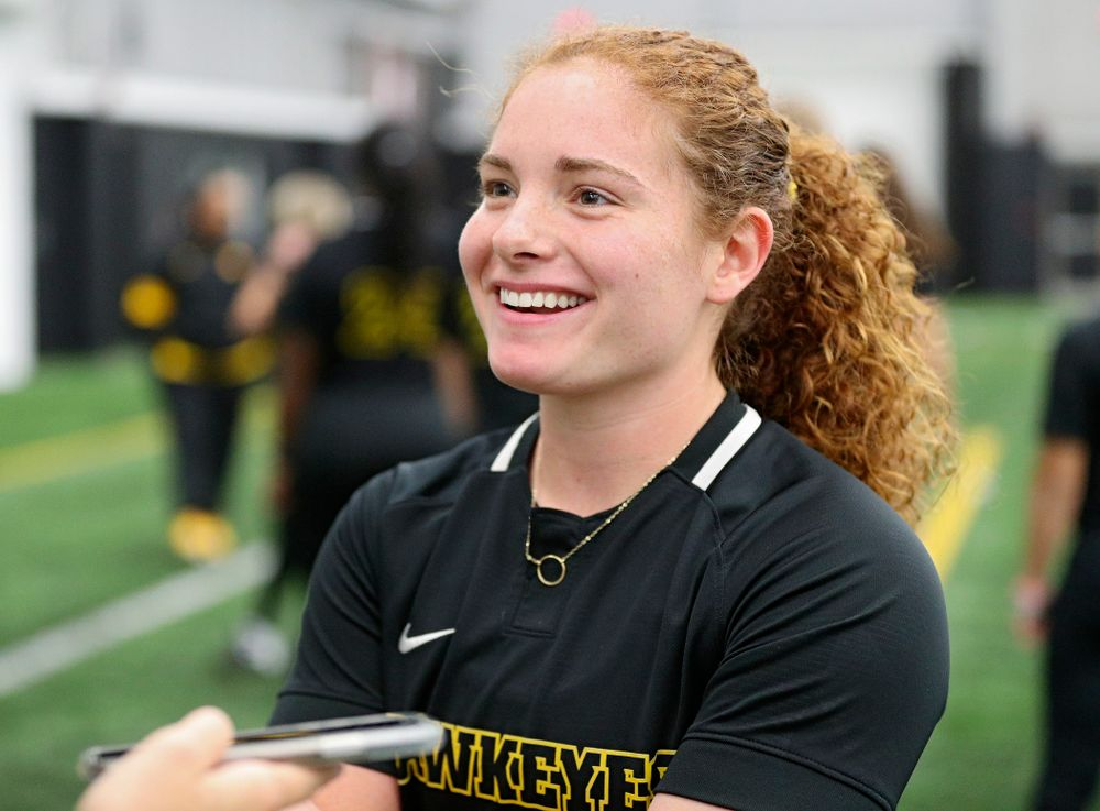 Iowa catcher/infielder Kate Claypool (12) answers questions during Iowa Softball Media Day at the Hawkeye Tennis and Recreation Complex in Iowa City on Thursday, January 30, 2020. (Stephen Mally/hawkeyesports.com)