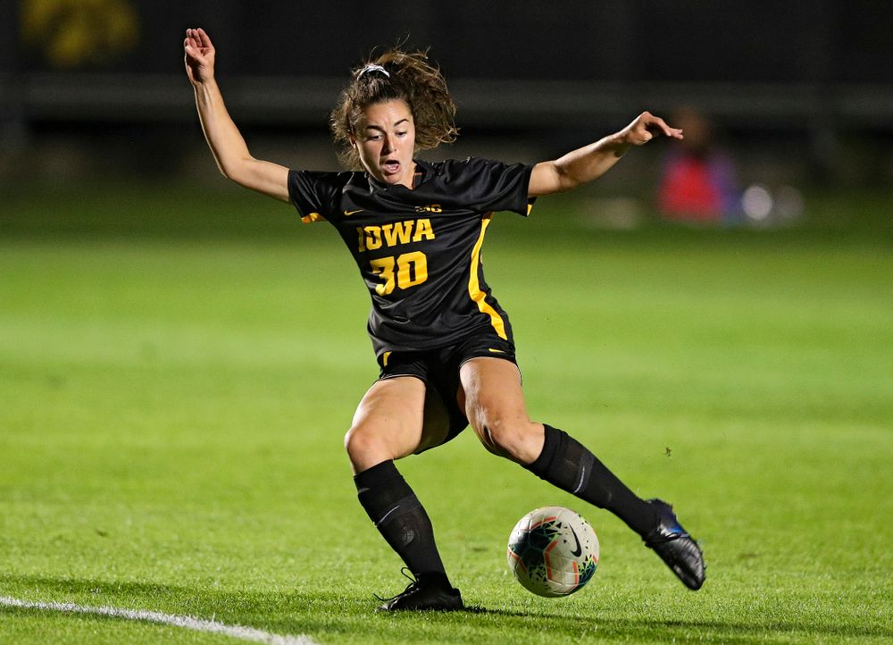 Iowa forward Devin Burns (30) lines up a shot during the first half of their match against Illinois at the Iowa Soccer Complex in Iowa City on Thursday, Sep 26, 2019. (Stephen Mally/hawkeyesports.com)