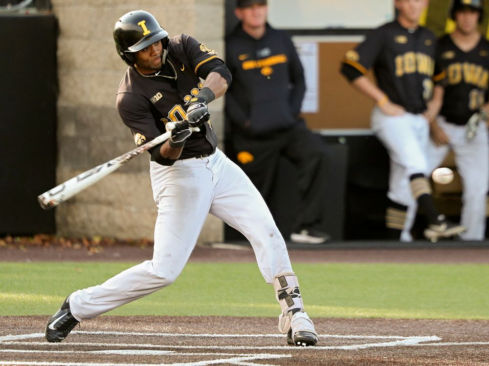 Iowa infielder Lorenzo Elion (1) bats during the fourth inning of the first game of the Black and Gold Fall World Series at Duane Banks Field in Iowa City on Tuesday, Oct 15, 2019. (Stephen Mally/hawkeyesports.com)