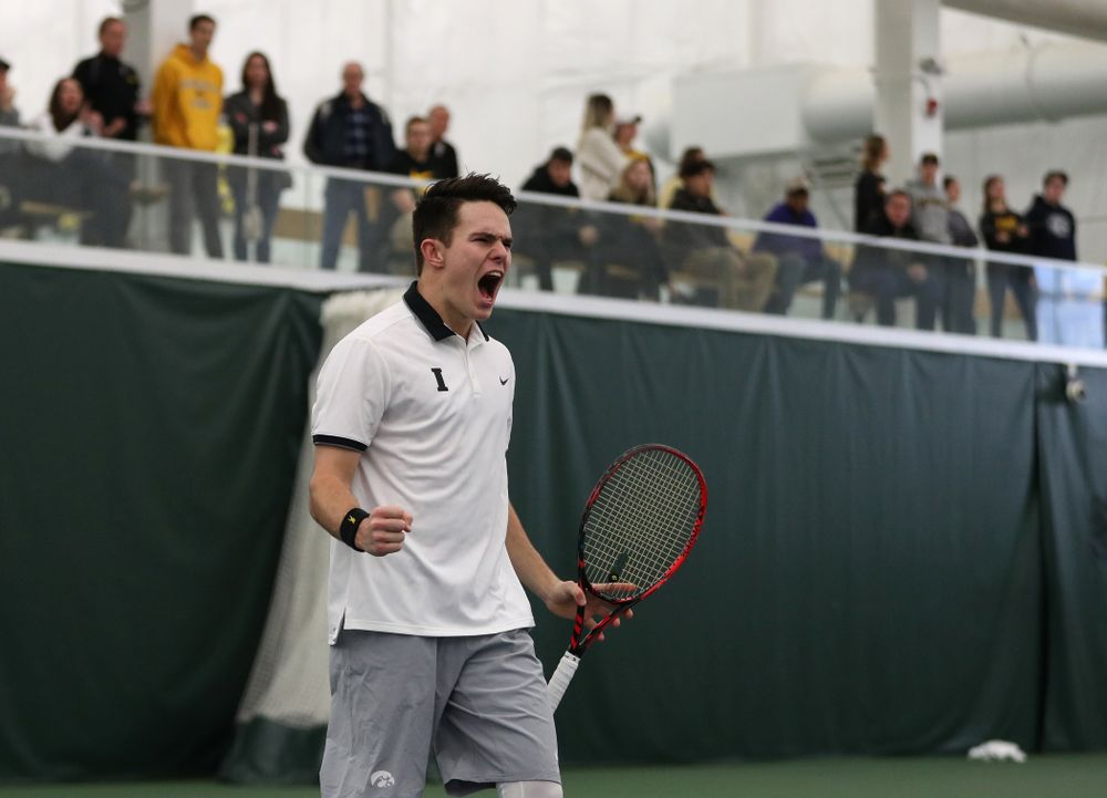Iowa's Jonas Larson during a doubles match against Western Michigan Saturday, January 19, 2019 at the Hawkeye Tennis and Recreation Complex. (Brian Ray/hawkeyesports.com)