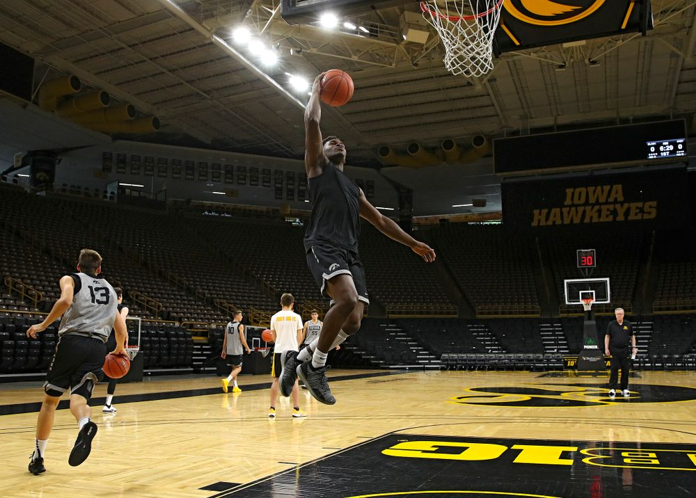 Iowa Hawkeyes guard Joe Toussaint (1) makes a basket during practice at Carver-Hawkeye Arena in Iowa City on Wednesday, Oct 9, 2019. (Stephen Mally/hawkeyesports.com)
