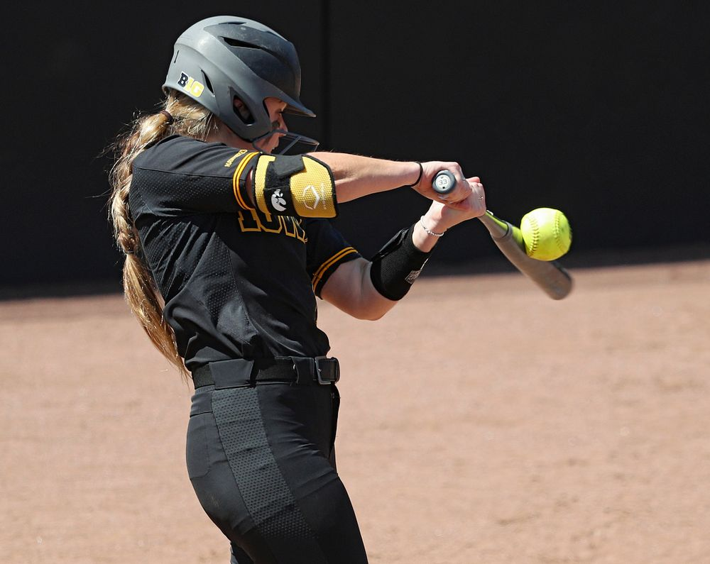 Iowa right fielder Cameron Cecil (1) bats during the third inning of their game against Ohio State at Pearl Field in Iowa City on Saturday, May. 4, 2019. (Stephen Mally/hawkeyesports.com)