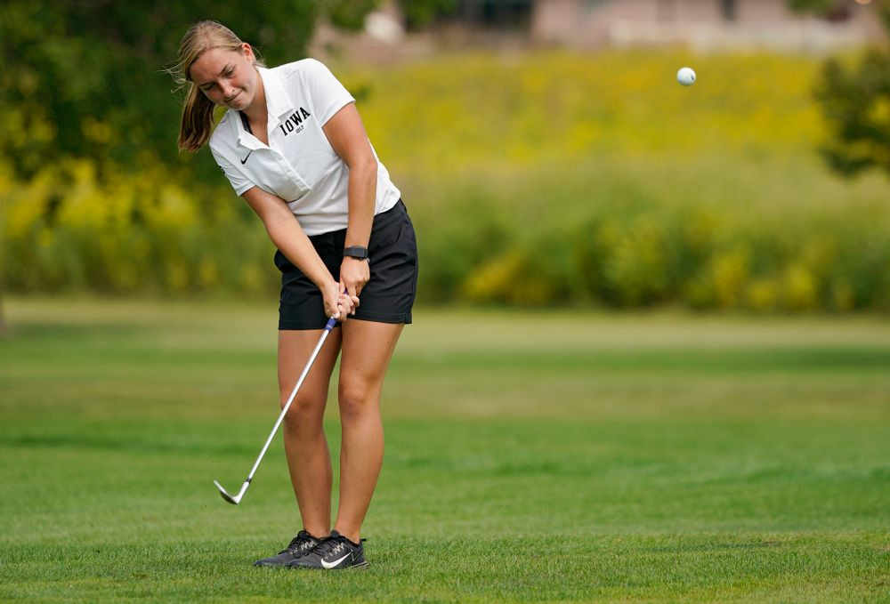 Iowa's Stephanie Herzog chips onto the green during their dual against Northern Iowa at Pheasant Ridge Golf Course in Cedar Falls on Monday, Sep 2, 2019. (Stephen Mally/hawkeyesports.com)