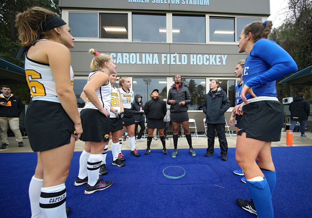 Iowa's Maddy Murphy (26), Ryley Miller (19), Sophie Sunderland (20), and Katie Birch (11) watch the coin toss before their NCAA Tournament First Round match against Duke at Karen Shelton Stadium in Chapel Hill, N.C. on Friday, Nov 15, 2019. (Stephen Mally/hawkeyesports.com)