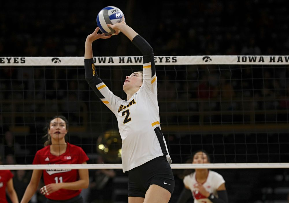 Iowa's Courtney Buzzerio (2) sets the ball during the first set of their match against Nebraska at Carver-Hawkeye Arena in Iowa City on Saturday, Nov 9, 2019. (Stephen Mally/hawkeyesports.com)
