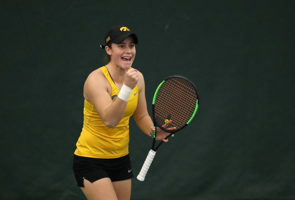 Iowa's Elise Van Heuvelen plays a doubles match against Xavier Friday, January 18, 2019 at the Hawkeye Tennis and Recreation Center. (Brian Ray/hawkeyesports.com)