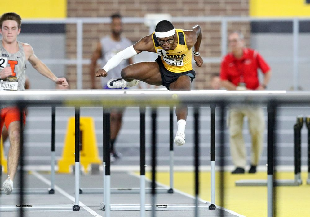 Iowa's Jaylan McConico runs the men's 60 meter hurdles premier preliminary event during the Larry Wieczorek Invitational at the Recreation Building in Iowa City on Saturday, January 18, 2020. (Stephen Mally/hawkeyesports.com)