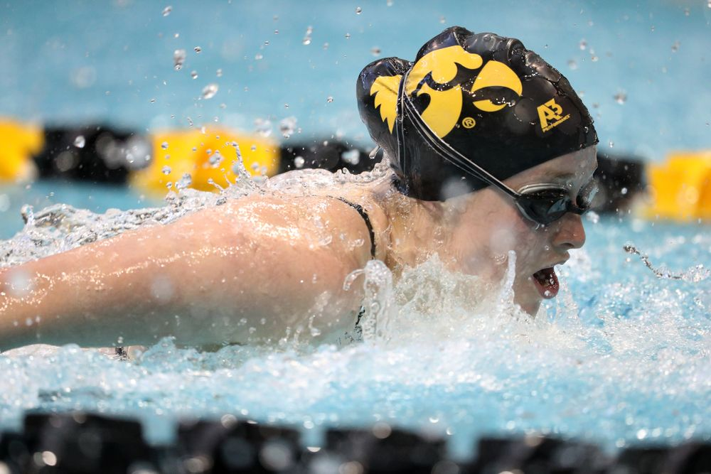 Iowa's Kelsey Drake swims the butterfly leg of the 200 yard medley relay during a double dual against Wisconsin and Northwestern Saturday, January 19, 2019 at the Campus Recreation and Wellness Center. (Brian Ray/hawkeyesports.com)