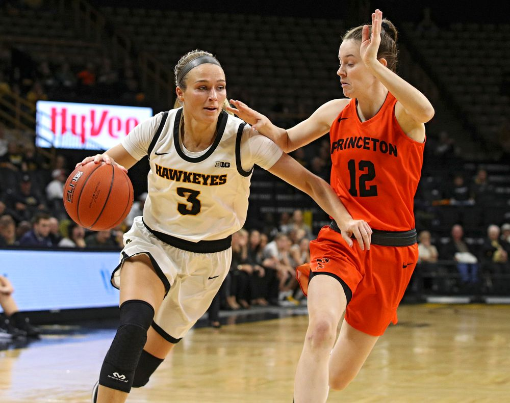 Iowa guard Makenzie Meyer (3) drives with the ball during the second quarter of their overtime win against Princeton at Carver-Hawkeye Arena in Iowa City on Wednesday, Nov 20, 2019. (Stephen Mally/hawkeyesports.com)