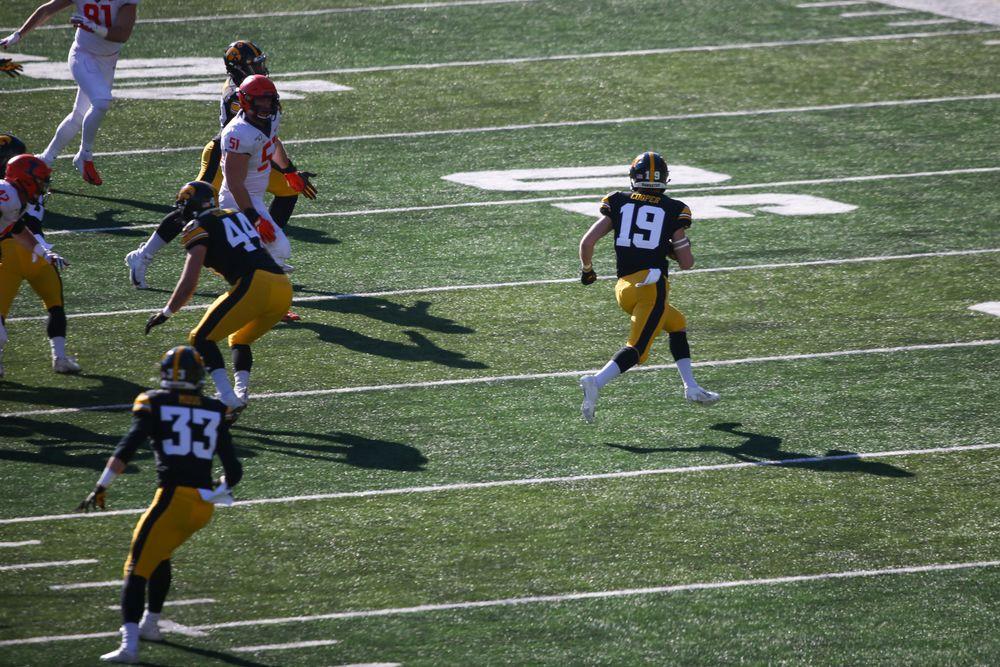 Iowa Hawkeyes wide receiver Max Cooper (19) during Iowa football vs Illinois on Saturday, November 23, 2019 at Kinnick Stadium. (Lily Smith/hawkeyesports.com)