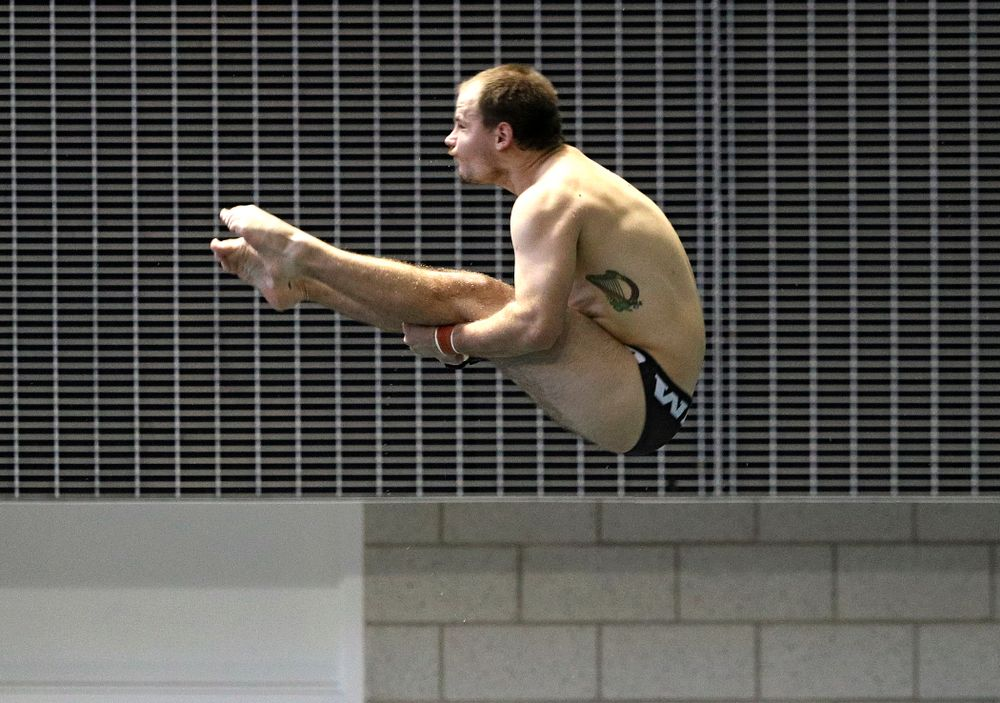 Iowa's Anton Hoherz competes in the men's 3-meter diving event during their meet against Michigan State and Northern Iowa at the Campus Recreation and Wellness Center in Iowa City on Friday, Oct 4, 2019. (Stephen Mally/hawkeyesports.com)