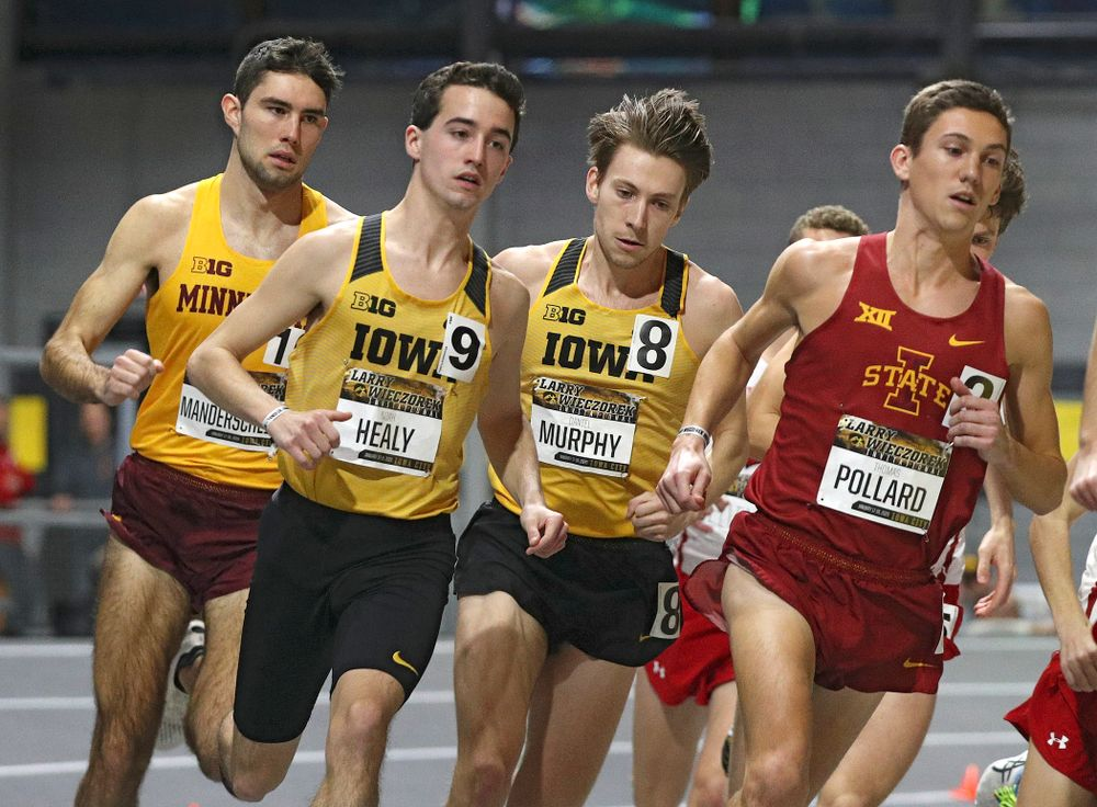 Iowa's Noah Healy (from left) and Daniel Murphy run the men's 3000 meter run premier event during the Larry Wieczorek Invitational at the Recreation Building in Iowa City on Saturday, January 18, 2020. (Stephen Mally/hawkeyesports.com)