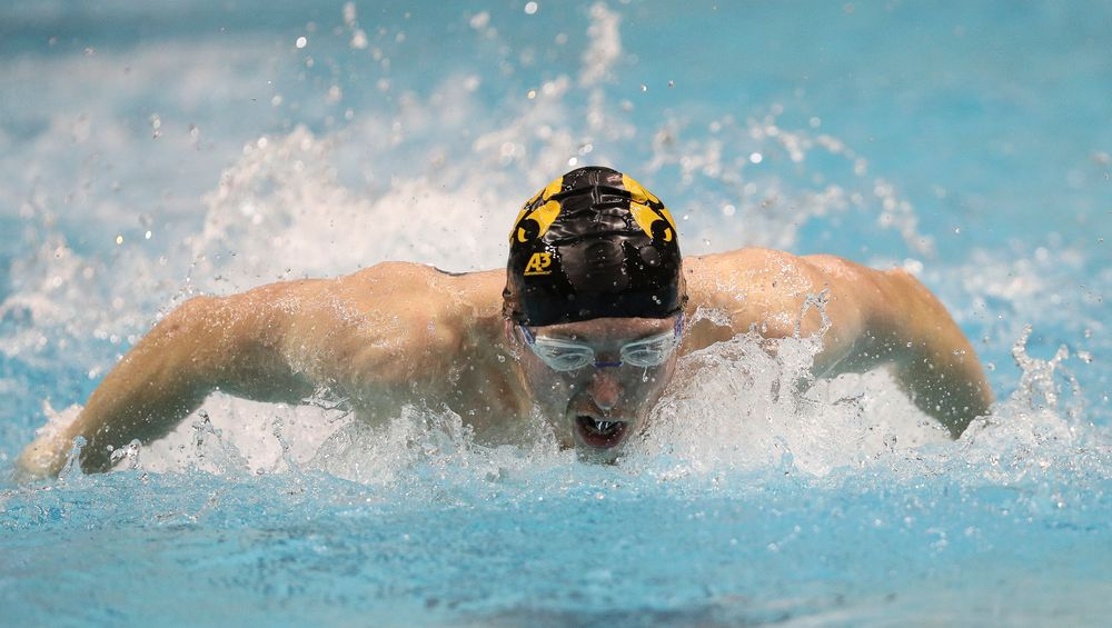 Iowa's Samuel Dumford competes in the 400-yard butterfly during the third day of the Hawkeye Invitational at the Campus Recreation and Wellness Center on November 16, 2018. (Tork Mason/hawkeyesports.com)