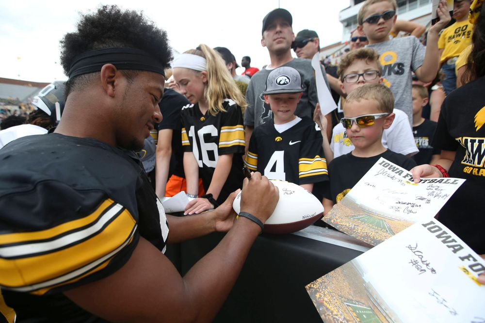 Iowa Hawkeyes running back Toren Young (28) during Kids Day at Kinnick Stadium on Saturday, August 10, 2019. (Lily Smith/hawkeyesports.com)