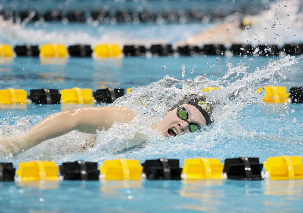 Iowa's Lauren McDougall swims the freestyle section of the 100-yard individual medley event during their meet against Michigan State at the Campus Recreation and Wellness Center in Iowa City on Thursday, Oct 3, 2019. (Stephen Mally/hawkeyesports.com)