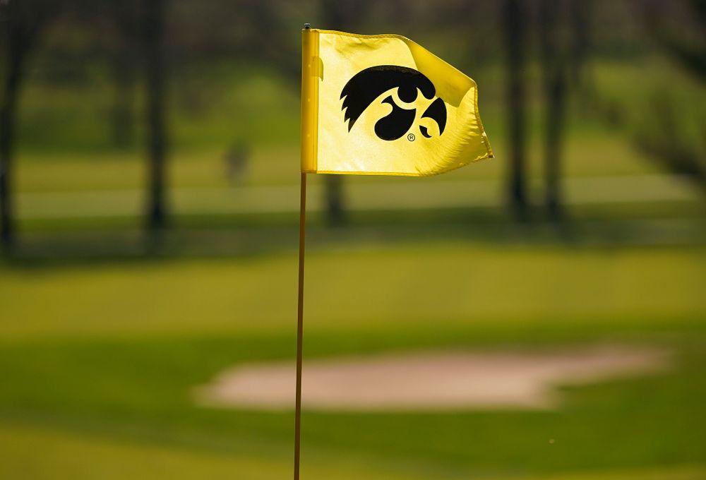 A Tigerhawk logo flies on a flag during the second round of the Hawkeye Invitational at Finkbine Golf Course in Iowa City on Saturday, Apr. 20, 2019. (Stephen Mally/hawkeyesports.com)
