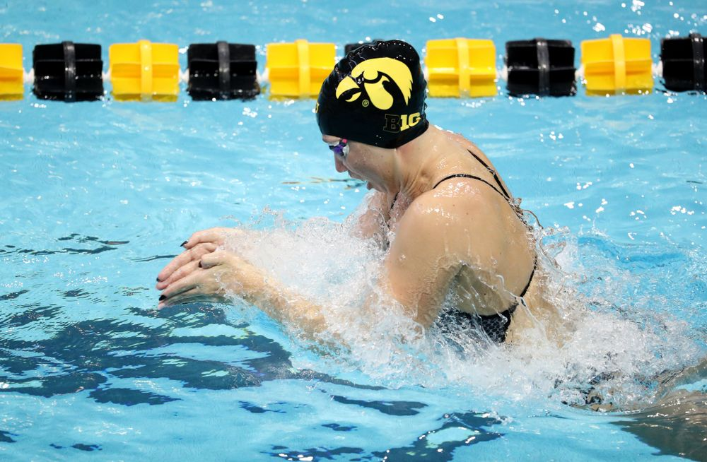 IowaÕs Zoe Mekus swims the breaststroke leg of the 200 Medley Relay against Notre Dame and Illinois Saturday, January 11, 2020 at the Campus Recreation and Wellness Center.  (Brian Ray/hawkeyesports.com)