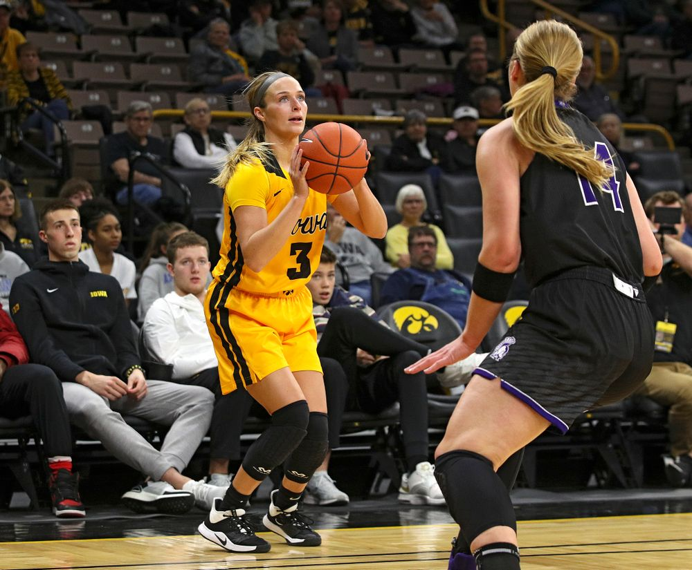 Iowa guard Makenzie Meyer (3) makes a 3-pointer during the fourth quarter of their game against Winona State at Carver-Hawkeye Arena in Iowa City on Sunday, Nov 3, 2019. (Stephen Mally/hawkeyesports.com)