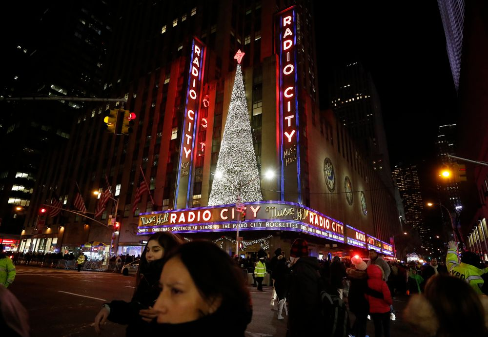 The Iowa Hawkeyes check out the Radio City Music Hall Christmas Spectacular.