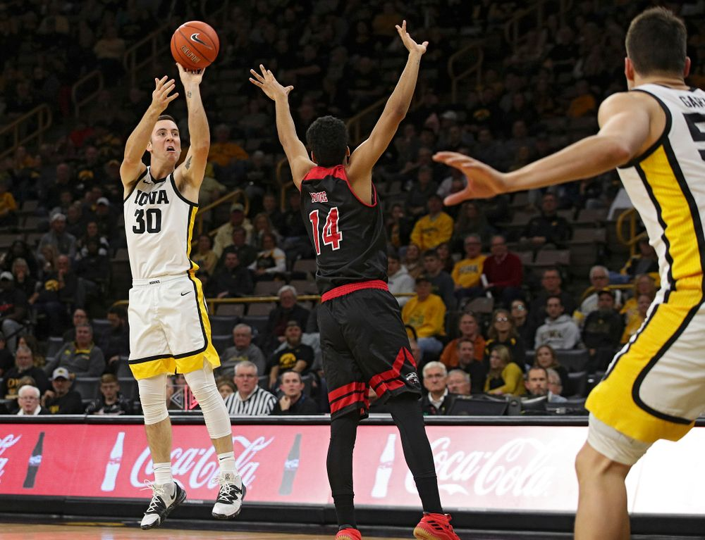 Iowa Hawkeyes guard Connor McCaffery (30) makes a 3-pointer during the second half of their game at Carver-Hawkeye Arena in Iowa City on Friday, Nov 8, 2019. (Stephen Mally/hawkeyesports.com)