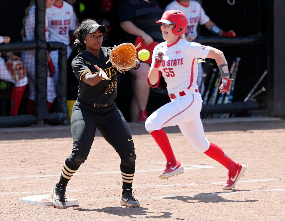 Iowa first baseman DoniRae Mayhew (24) pulls in a throw for an out during the fourth inning of their game against Ohio State at Pearl Field in Iowa City on Saturday, May. 4, 2019. (Stephen Mally/hawkeyesports.com)
