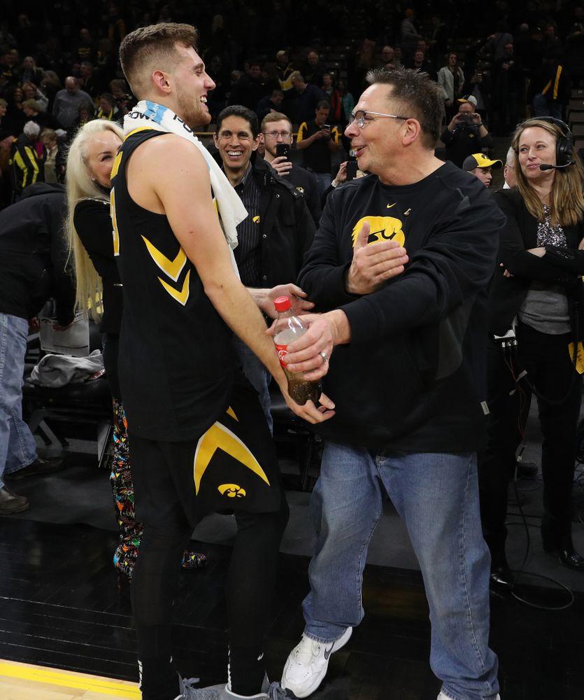 Iowa Hawkeyes guard Jordan Bohannon (3) and Brent Feller against the Indiana Hoosiers Friday, February 22, 2019 at Carver-Hawkeye Arena. (Brian Ray/hawkeyesports.com)