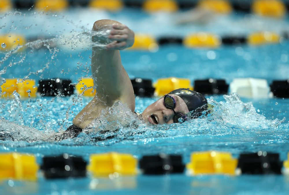 Iowa's Alleyna Thomas swims the 500 yard freestyle Thursday, November 15, 2018 during the 2018 Hawkeye Invitational at the Campus Recreation and Wellness Center. (Brian Ray/hawkeyesports.com)